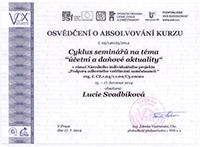Osvědčení o absolvování kurzu - Lucie Svadbíková