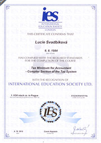 Certifikát International Education Society - Lucie Svadbíková