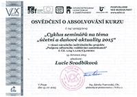 Osvědčení o absolvování kurzu 2015 - Lucie Svadbíková