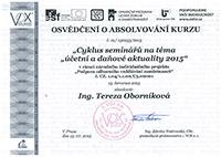 Osvědčení o absolvování kurzu 2015 - Tereza Oborníková