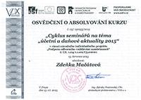 Osvědčení o absolvování kurzu 2015 - Zdeňka Mačátová